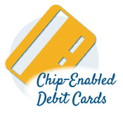 debit card icon that says chip-enabled debit card