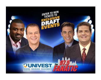 image of Brian Westbrook, Mike Missanelli, Mike Golic and Mike Greenberg with the text enter to win exclusive draft events