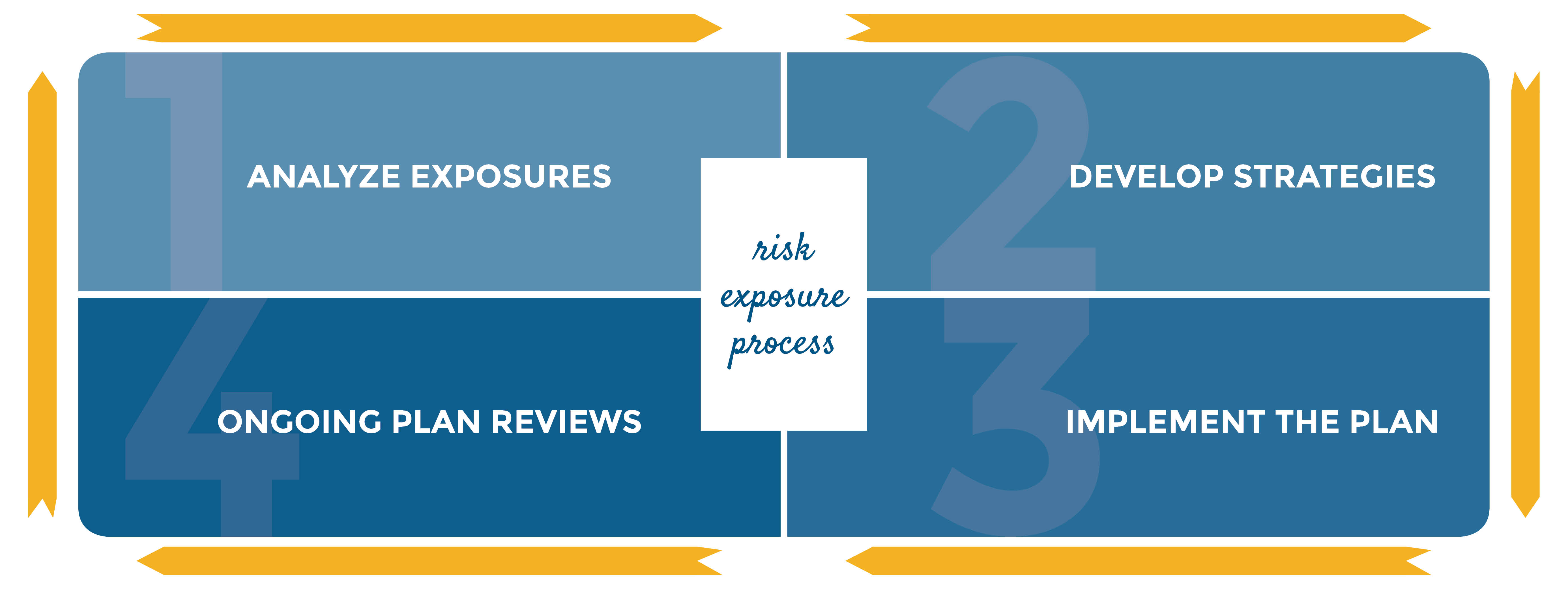 diagram of risk exposure process step 1 analyze exposures step 2 develop strategies step 3 implement the plan step 4 ongoing plan reviews