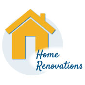 house icon with the words home renovations