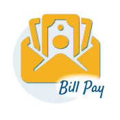 money in and envelope icon that says bill pay