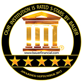 our institution is rated 5-stars by bauer financial icon