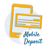 smart phone with check icon with the words mobile deposit