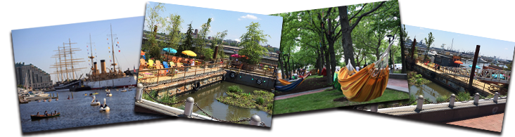 images of spruce street harbor park depicting the water front, hammocks, and tables with umbrellas.