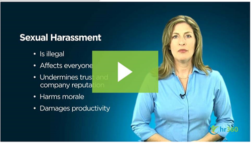 screenshot of video regarding sexual harrassment in the workplace
