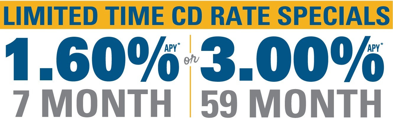 limited time CD rate specials 1.60% APY or 3.00% APY