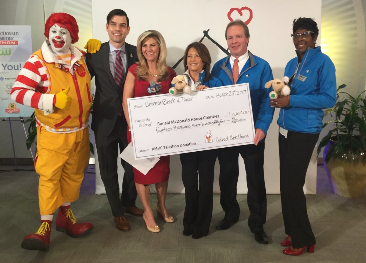 Univest employees at check presentation to Ronald McDonald House Charities of the Philadelphia Region