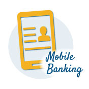smart phone icon with the words mobile banking